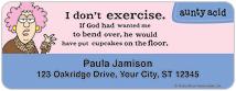 Aunty Acid Diet & Exercise Address Labels